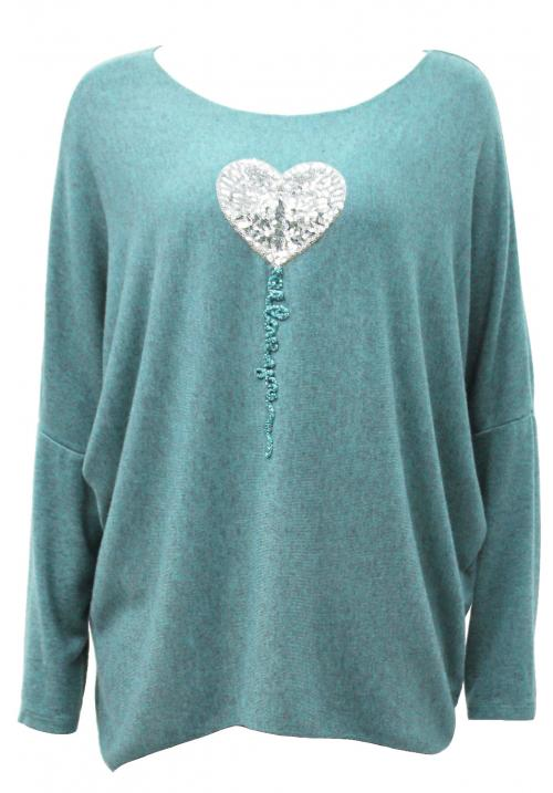 Italian Heart Sequin Applique knit top Sage