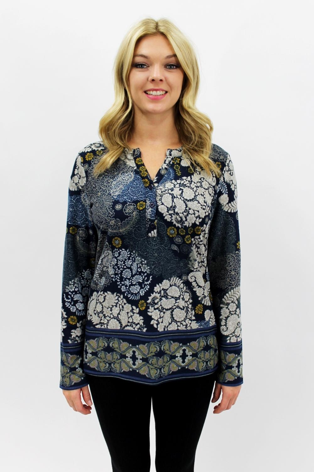 Dazzling Paisley Top Navy