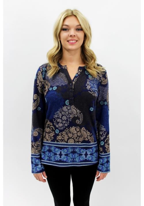 Dazzling Paisley Top Blue