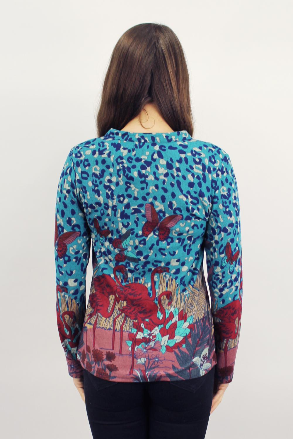 Red Flamingo Top Blue
