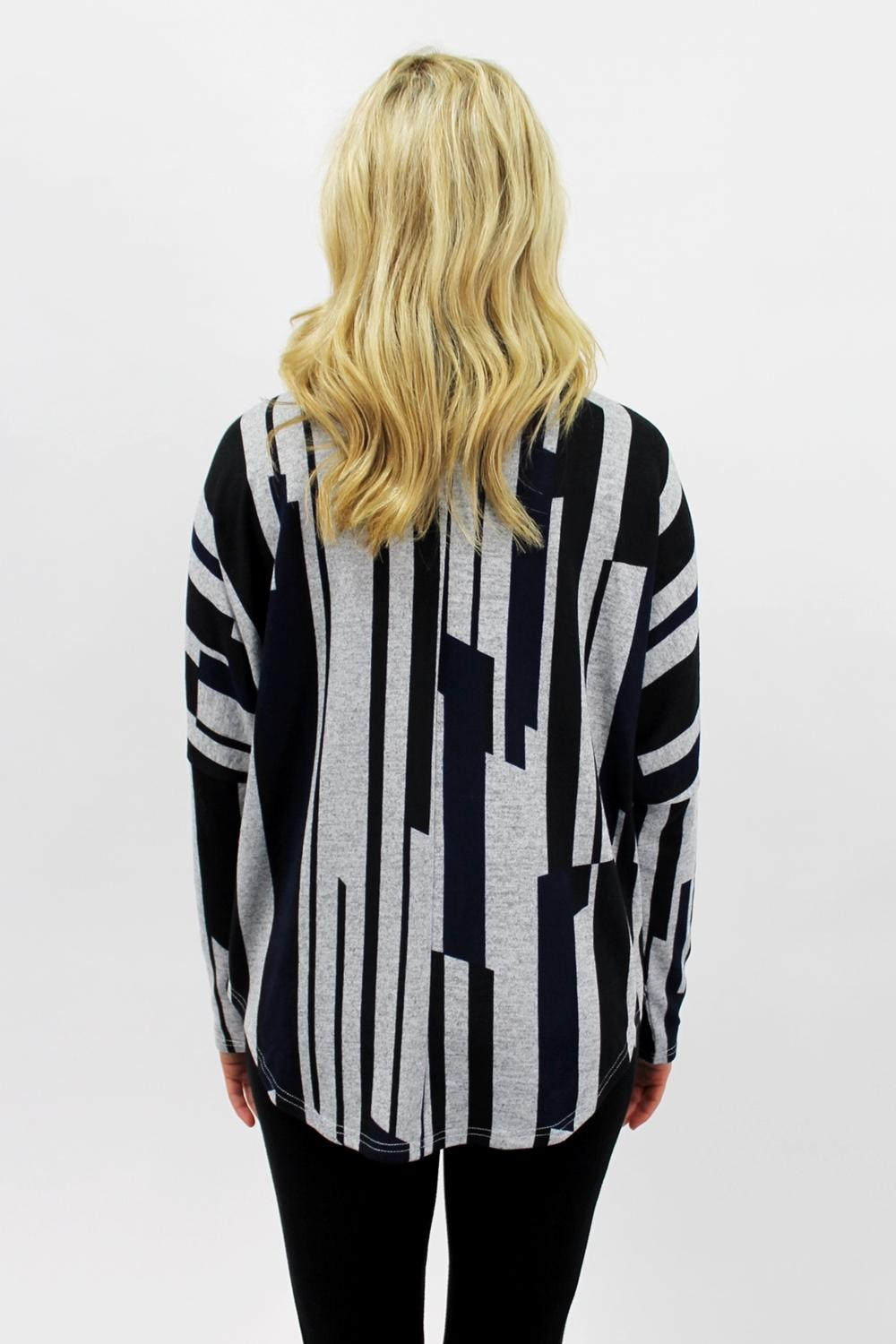 Stripe Zip Up Navy