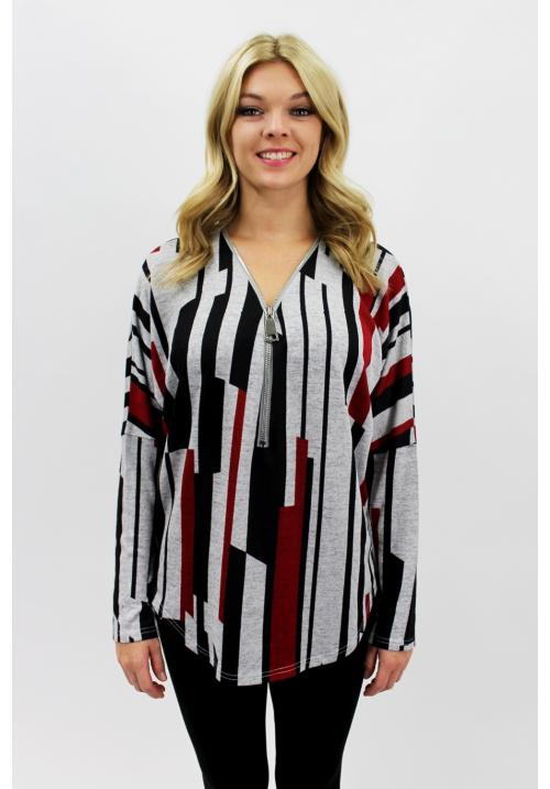 Stripe Zip Up Red