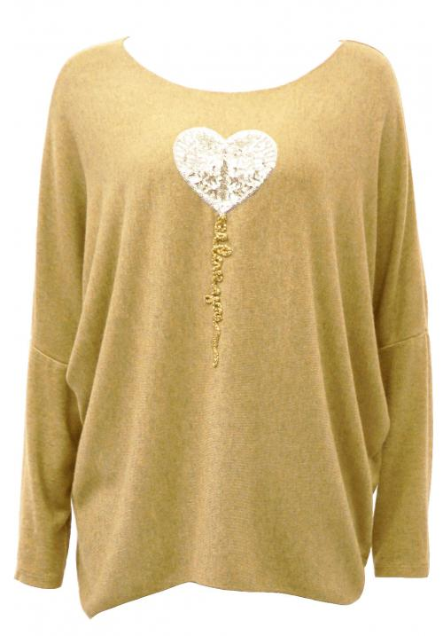 Italian Heart Sequin Applique knit top Mustard