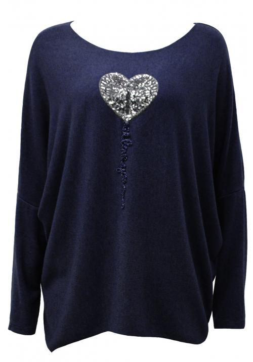 Italian Heart Sequin Applique knit top Navy