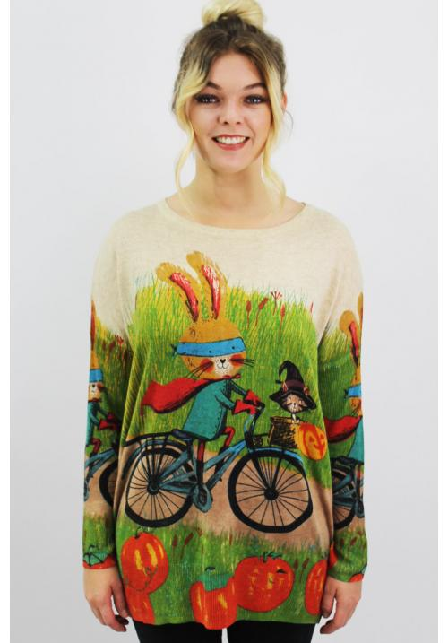 Cycling Bunny Halloween Day Beige / 6053