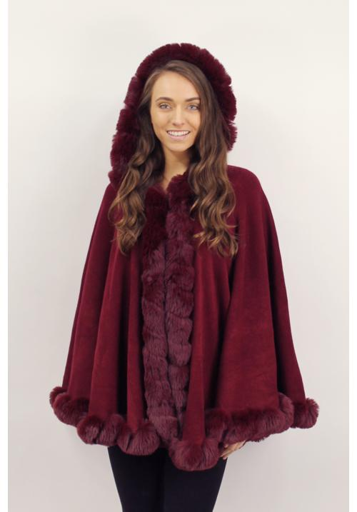 Bell fur cape with a hood