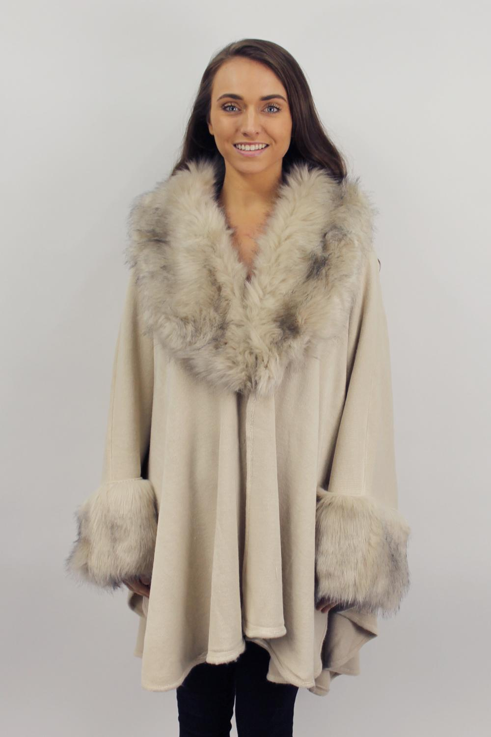 Cape style luxury fur collar coat