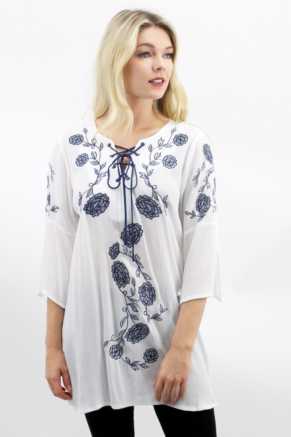 Embroidered  White Floral Top