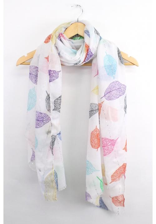 leaves Scarf - White