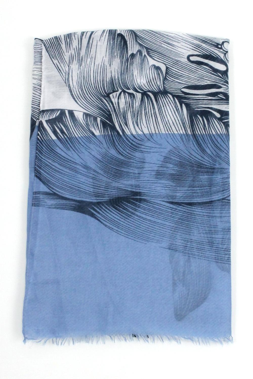 Flower Drawing Scarf - Blue
