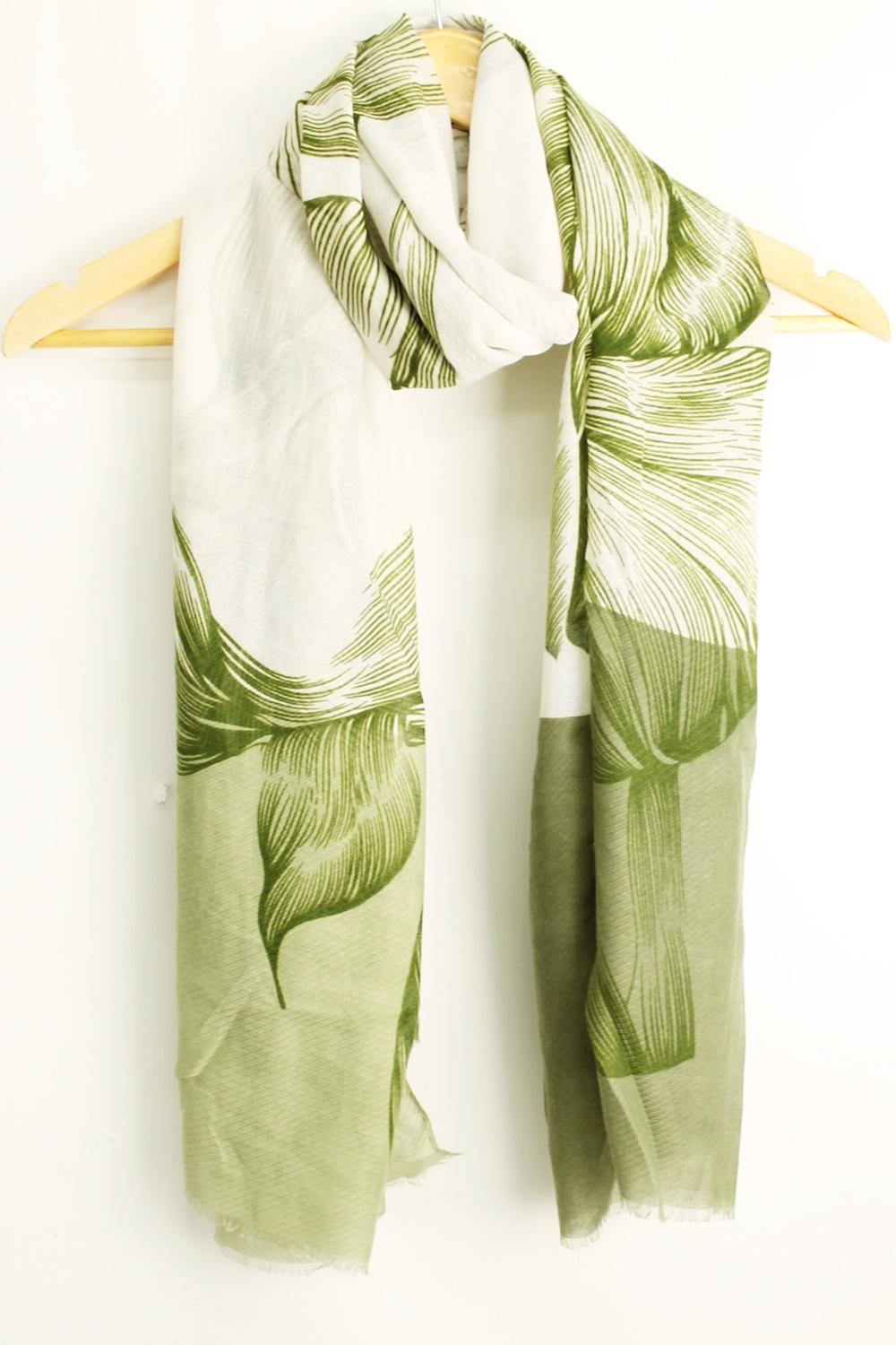 Flower Drawing Scarf  - Khaki