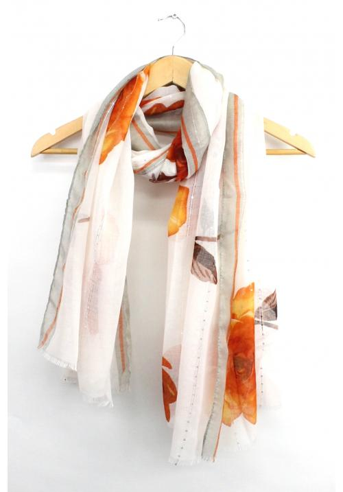 Rose Print Scarf - Orange