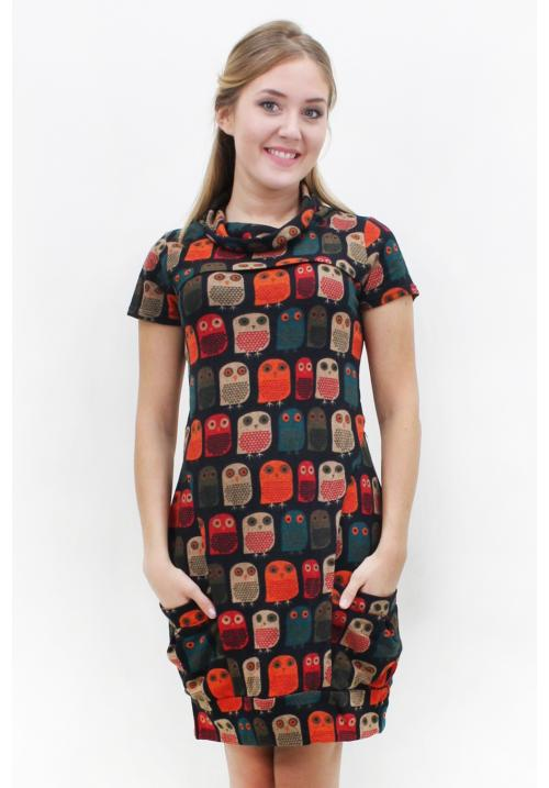 Boho Owls High Neck Tunic