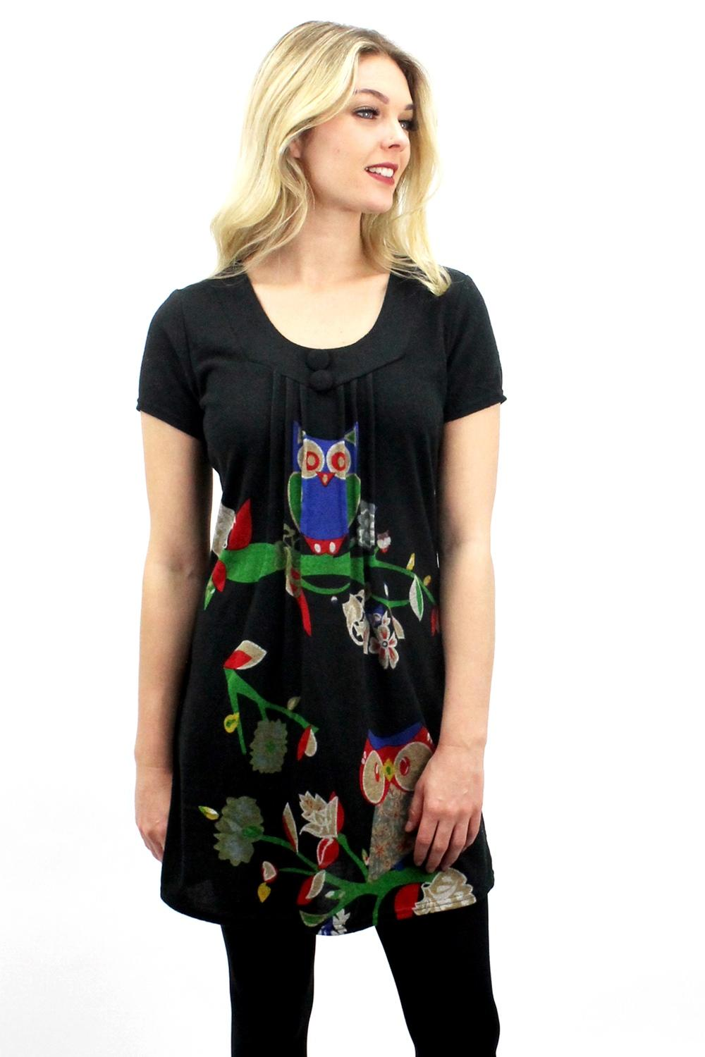 Two Owls Tunic  Black