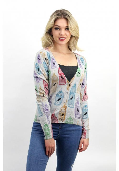 Cardigan with Coloured Bird Cages – Grey