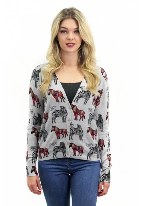 Cardigan with Zebra – Grey