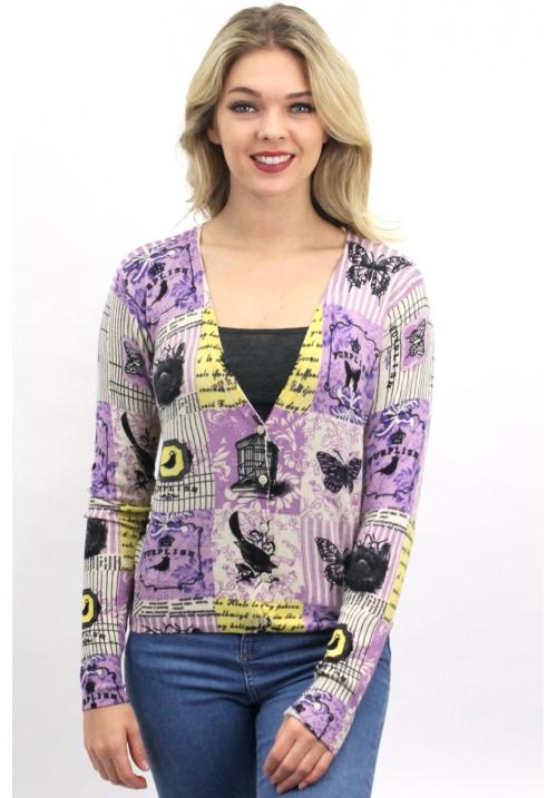 Purplish Lavender print woman Cardigan Beige