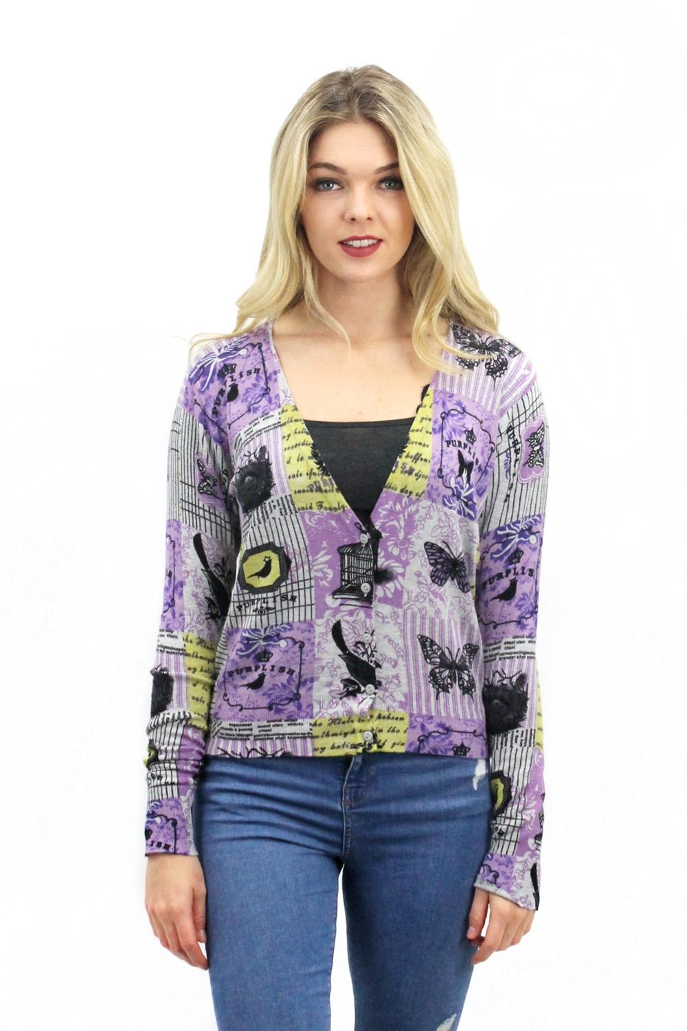 Purplish Lavender Cardigan Grey