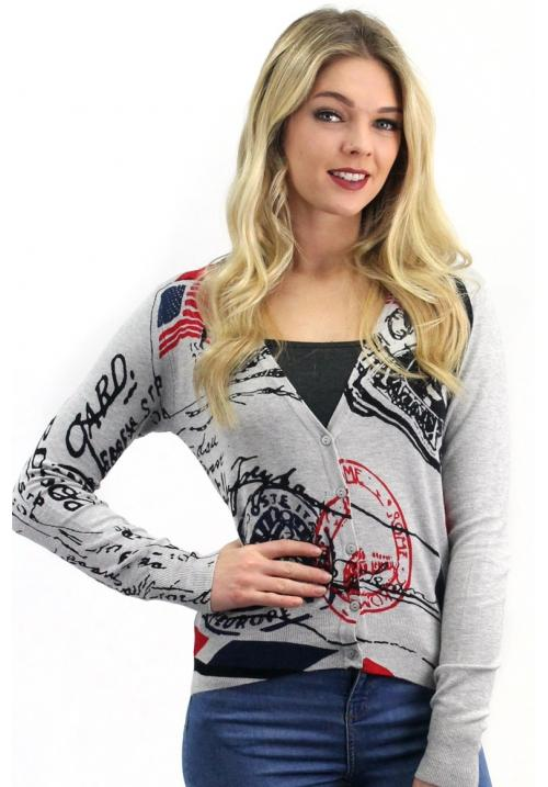 Stamp Print Cardigan Grey
