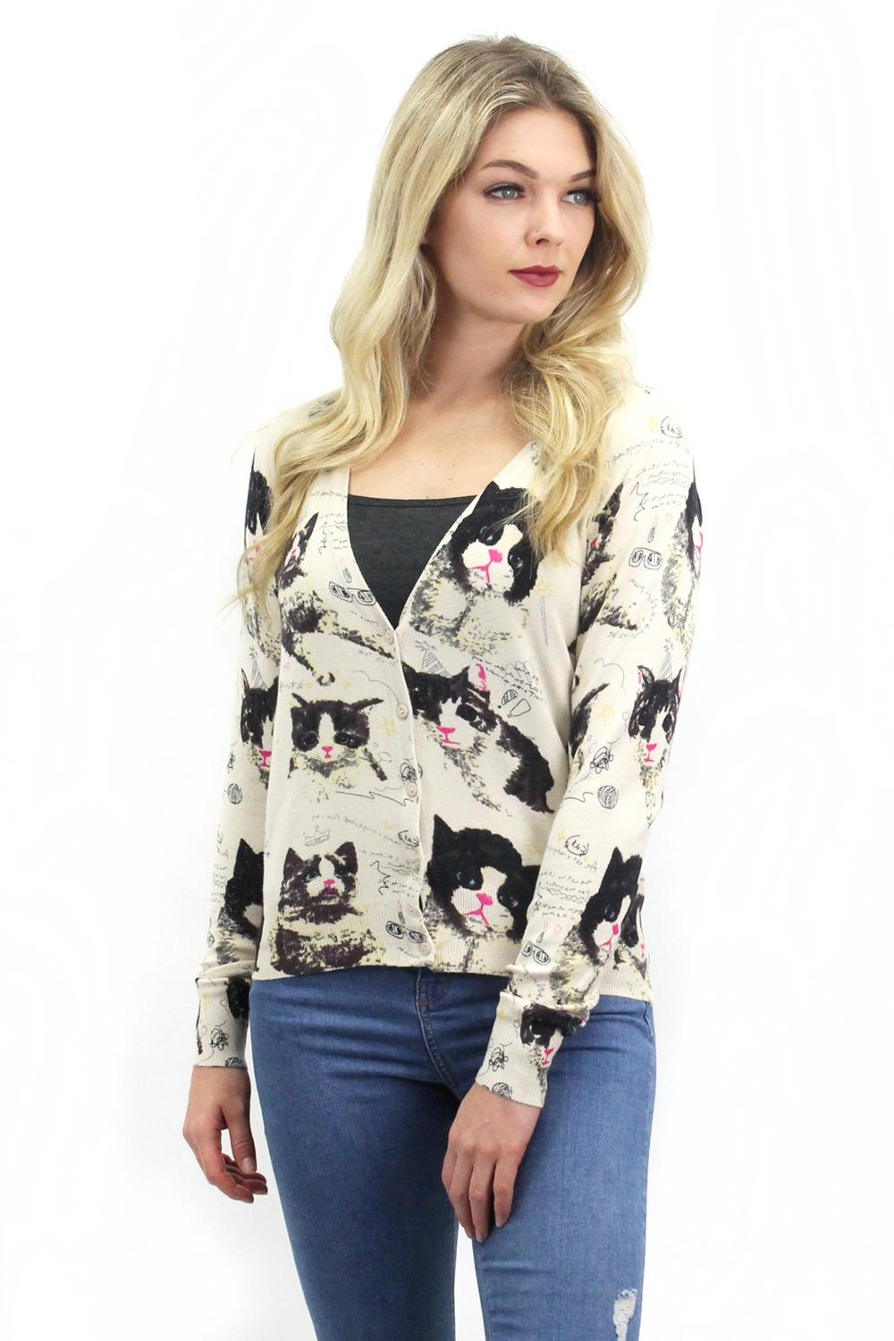 Sweet Cats Cardigan Beige