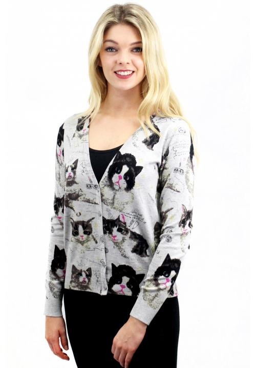 Sweet Cats Cardigan Grey