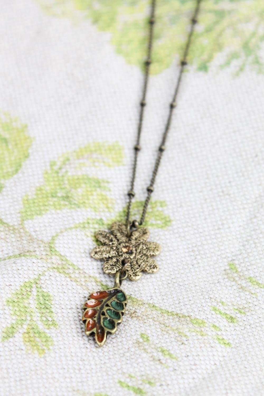 Vintage Necklace with Autumn Leaf