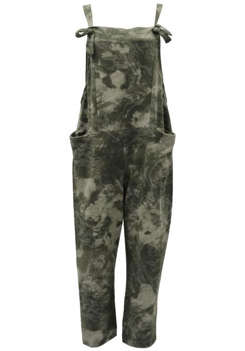Water Dye Cotton Dungarees Khaki